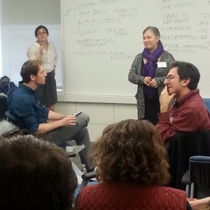 Brian Krisch (left) in the session led by Gigi Naglak and Emma Max Photo by Tiffany Allen