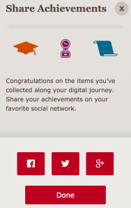 Badges earned using the Wells Fargo Museum's app